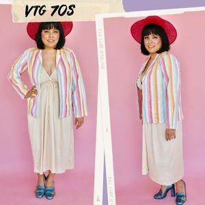 Vtg 70s Rainbow Pastel Blouse Jacket S M